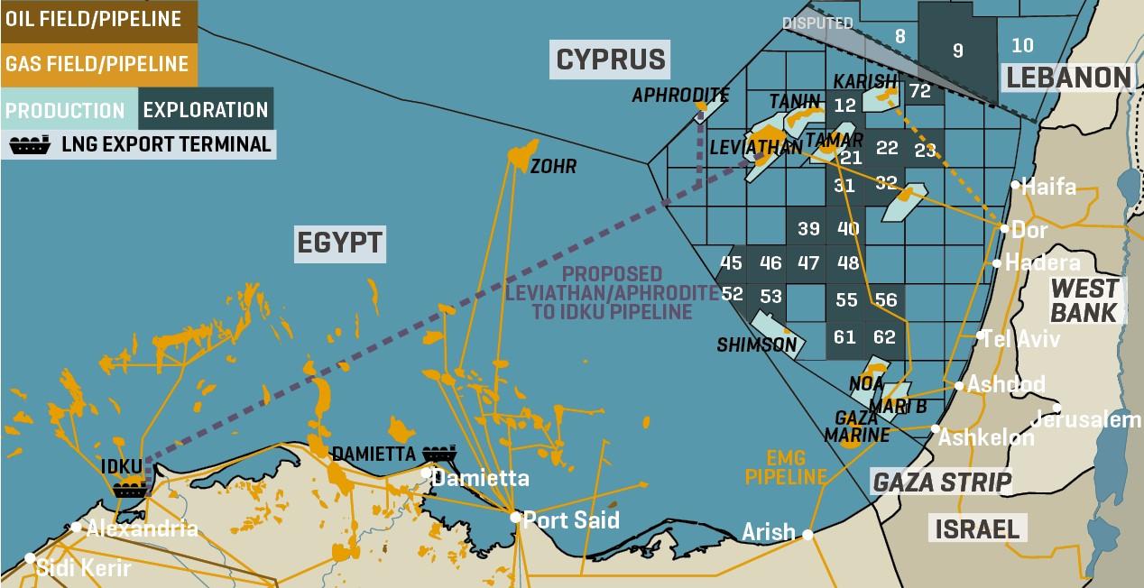 East Mediterranean Gas Fields & Infrastructure
