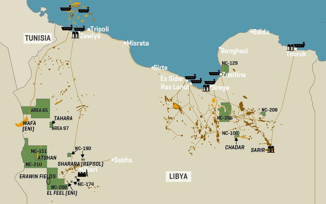 Libya's Key Oil Infrastructure And Zallaf Blocks